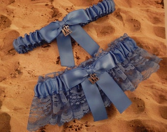 Cornflower Blue Lace Cornflower Satin Love Charm Wedding Garter Bridal Set