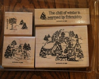 1996 Retired Stampin Up Chill of Winter Wood Mounted Stamp Set of 4 Christmas