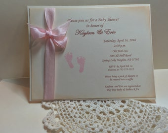 Pink Footprint Invitation..Baby Shower Invitation..Baby Girl ..Personalized