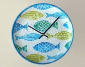 SILENT Green and Turquoise Fish Wall Clock, Fish Clock, Melamine Plate Clock, Fish Wall Decor, Beach House Clock, Bathroom Clock  2006