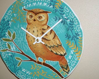 NEW!  Turquoise Owl Wall Clock 7-3/4 Inches SILENT, Nursery Decor, Animal Decor, Bird Clock, Cute Owl Clock, Child Bedroom Clock - 2111