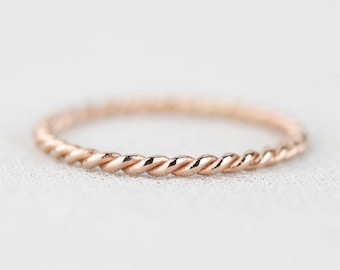Select a Gold - Mira Wedding Band - Twist Rope 14k Gold Band Ring - Solid 14k White or Green or Rose or Yellow Gold Twisted Ring