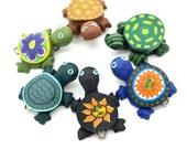 Turtle Pendants, 6pcs, 25mm, Turtle Beads, Turtle Pendant, Fimo Beads -P351