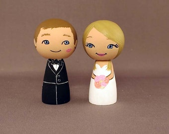 Wedding Cake Topper Kiss on Cheek Couple Blonde Bride