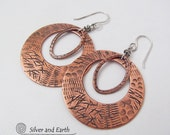 Hoop Earrings, Copper Hoop Earrings, Metal Earrings, Unique Handmade Artisan Jewelry, Large Hoops, Statement Earrings, Metalwork Jewelry