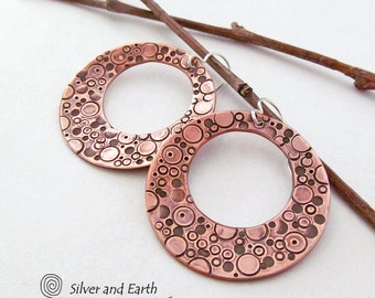 Copper Hoop Earrings Handmade Stamped Metal Jewelry Open Circle Earrings Unique Indie Jewelry Metalwork Metal Dangle Earrings Copper Hoops