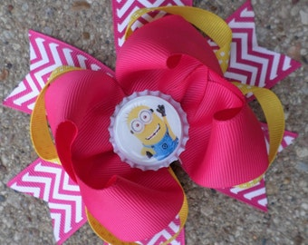 Dispicable Me Minion Big Stacked Hair bow