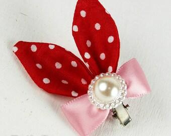 Doll BJD Ribbon Red Rabbit Hair Clip - Fatiao handmade