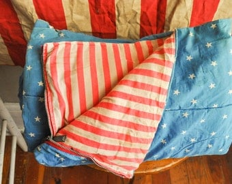 Reserved Vintage July Fourth Flag Patriotic Sleeping Bag Red White and Blue Stripes and Stars Talon Zipper
