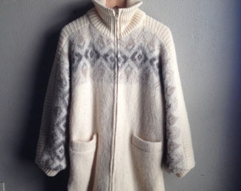 Vintage 80s Icelandic White Wool Coat