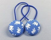 "1 1/8"" Size 45 Blue and White Bunny Rabbit Fabric Covered Button Hair Tie / Ponytail Holder / Party Favor (Set of 2)"