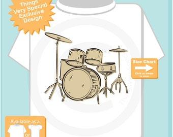 Drummer Shirt, Set of Drums Sketch T-Shirt or Onesie, Music Musician shirt (10222015b)