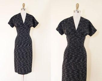 1950s Dress - Vintage 50s Dress - Black White Fleck Wool Bust Shelf Bombshell Dress M - The Way to Bombay Dress
