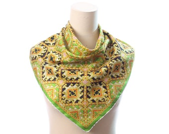 60s BOHO Scarf Vintage Psychedelic Print Twill Silk Kerchief 1960s Retro Green Yellow  Black Abstract Printed Hand Rolled Ladies Shawl