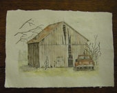 Barn old red truck rustic country landscape watercolor graphite pencils Ohio barns birds m3 artist drawings plus