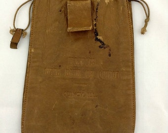 Vintage Leather Money Bag Bank Bag Illinois State Bank of Quincy, Quincy ILL