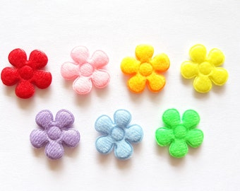 100 pcs - plain Felt Flower Appliques Embellishment - Mix color - size 20 mm