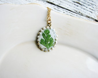 Fern Necklace Real Pressed Leaf Jewelry Resin Jewelry Bridal Botanical Naturalist Green Garden Gift Woodland Nature Plant Minimalist