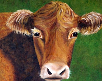 Cow Painting, Red Cow, Cow Portrait, Bovine, Cow Art, Brown Cow Painting, Cow, square, Original Oil Painting, Cattle Painting,Helen Eaton