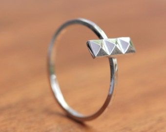 Silver Pyramid Ring - Silver Stacking Ring