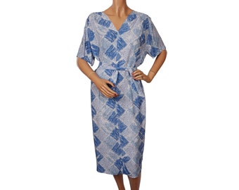 Vintage 1950s Rayon Dress -  Blue Abstract Square Print - Size XL