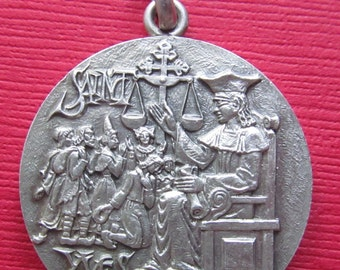 Antique Silver Saint Yves Patron Saint Of Yvon Religious Medal Pendant Signed Tschudin   SS346