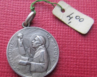 Antique Saint Anthony And The Christ Child French Silver Religious Art Medal Pendant Art Deco Signed Benard  SS496
