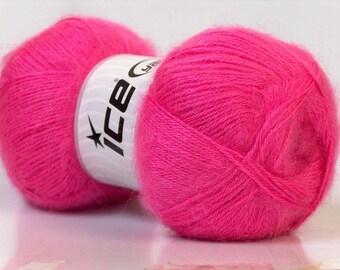 Knitting  yarn, Destash yarn, candy pink yarn, fingering weight, baby weight, Y96
