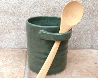 Serving pot jar cannister hand thrown in stoneware...with a bamboo spoon