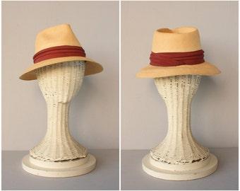 1950s Panama Hat | 50s Hat | 1950s Straw Hat | Summer Hat | Straw Fedora | Vintage Panama Hat