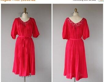 25% OFF SALE... Vintage 70s Dress | 70s Midi Dress | 1970s Dress | 70s Tent Dress | Cotton Guaze Dress | Boho Dress 1970s | 70s Boho