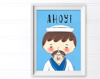 Tattooed Sailor Art Print - Ahoy! Sailor Doodle illustration Print - 5x7 Print Ready To Frame - Nautical Wall Decoration