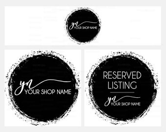 Etsy Cover Photo - Modern Etsy Shop Covers -  Black Etsy Covers - 3  Piece Etsy Shop Cover Set - Black Etsy Banner -  Logo Style 501