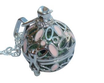 YOur perSOnal STYlish Essential oil necklace diffuser Steampunk sphere with pink flowers d2 0