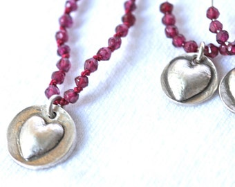 Garnet Necklace with matching earrings is sterling silver