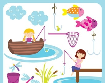 Fishing Girl scene digital image clip art, stickers, toppers, favours print, critters, logo Personal Commercial Use Instant Download