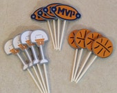 Basketball Cupcake Topper - Birthday Decorations, Party Supplies