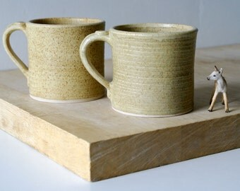 Two straight sided mugs - hand thrown stoneware in natural brown
