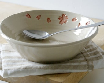 Hanami shallow bowl - simply clay handmade floral pattern dish