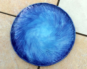 Stoneware Dinner Plate Wall Accent Round Blue 9 inches