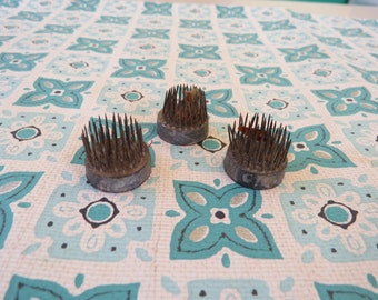 3 Vintage Small Round metal flower frogs FUN