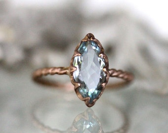 Genuine Marquise Aquamarine 14K Gold Ring, Gemstone RIng, Marquise Shape Ring, Eco Friendly, Engagement Ring, Stacking Ring - Made To Order