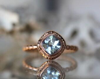 Genuine Aquamarine 14K Gold Ring, Gemstone Ring, Cushion Shape Ring, Eco Friendly, Engagement Ring, Stacking Ring, Recycled - Made To Order