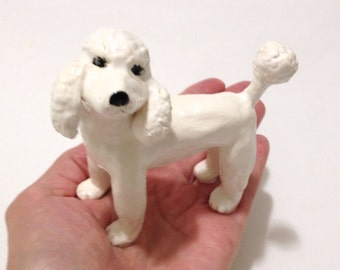 White Poodle Sculpture, Ceramic French Poodle