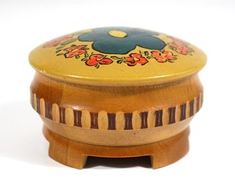 Vintage Wooden Folk Art Hand Painted Round Box - Bodo
