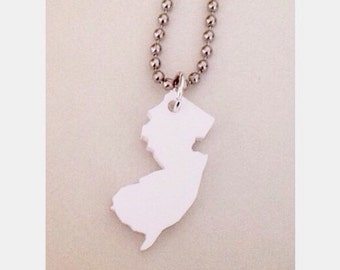 New Jersey Necklace, State Necklace, White Acrylic Lasercut Acryic Plastic, NJ Jewelry, Small Size