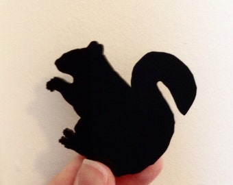 Woodland Animal Brooch - Black Squirrel Pin - Gift for Friend - Large Size - Lasercut Acrylic