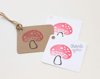 WOODLAND party favour tags, TOADSTOOL gift tags, mushroom thank you tags, woodland favour bag tags,  X 10