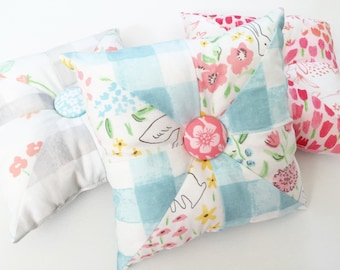 """Sommer Small Decorative Pillows, 6.5"""" Square Pillows, Pinwheel Pillows, Quilted Pillows"""