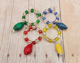 Paper Bead Wine Glass Charms Set of 4 - Very Primary Colors (Plus Green) - Red, Blue, Yellow, Green